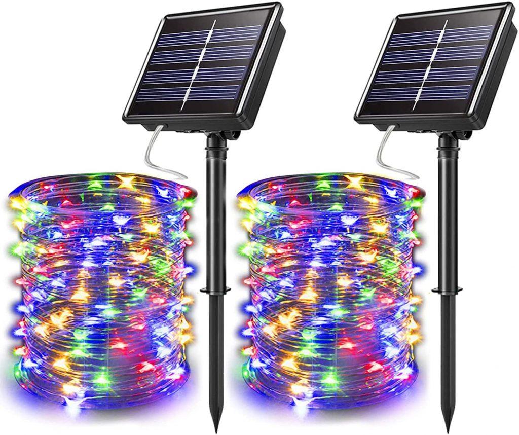 2 sets of JosMega Solar Christmas Lights with their solar panels.