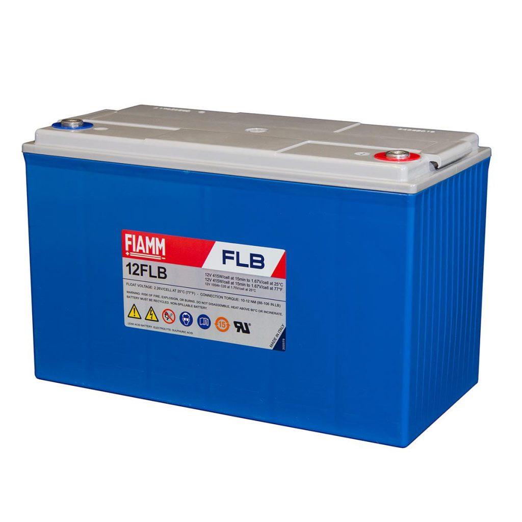 Fiamm-12FLB200P : 12V 55Ah AGM Lead Acid Battery used for solar energy storage.