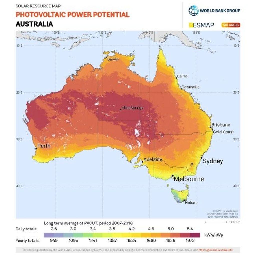 Solar power potential map of Australia.