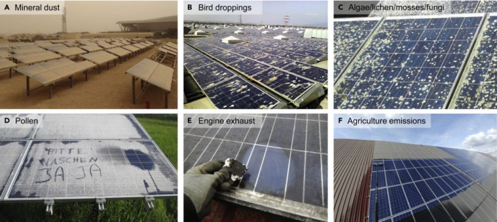 Solar panels that require solar panel cleaning.