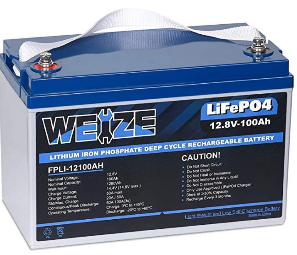 Weize 12.8V LiFePO4 100Ah Deep Cycle Rechargeable Battery