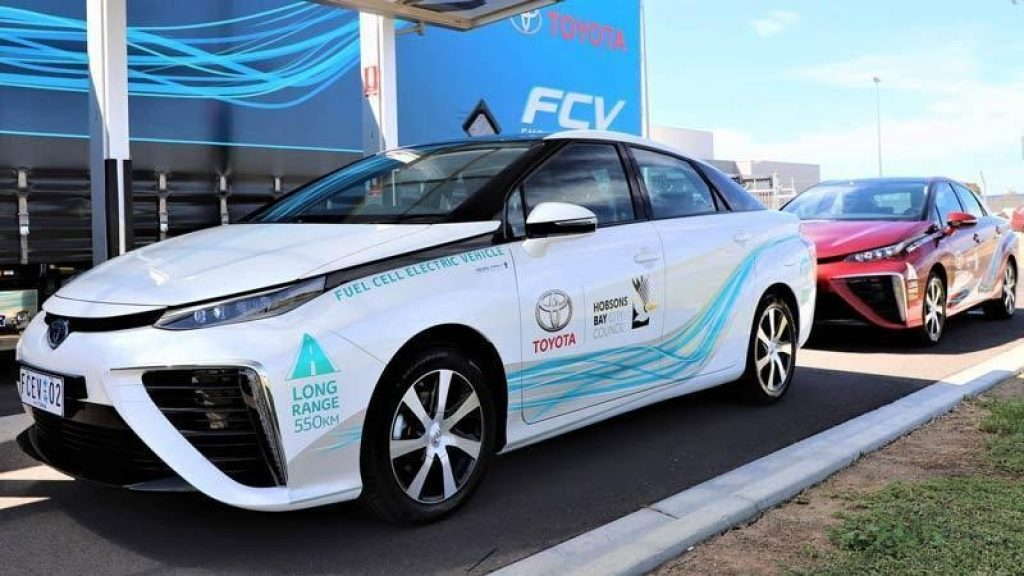 A Toyota hydrogen fuel cell vehicle.