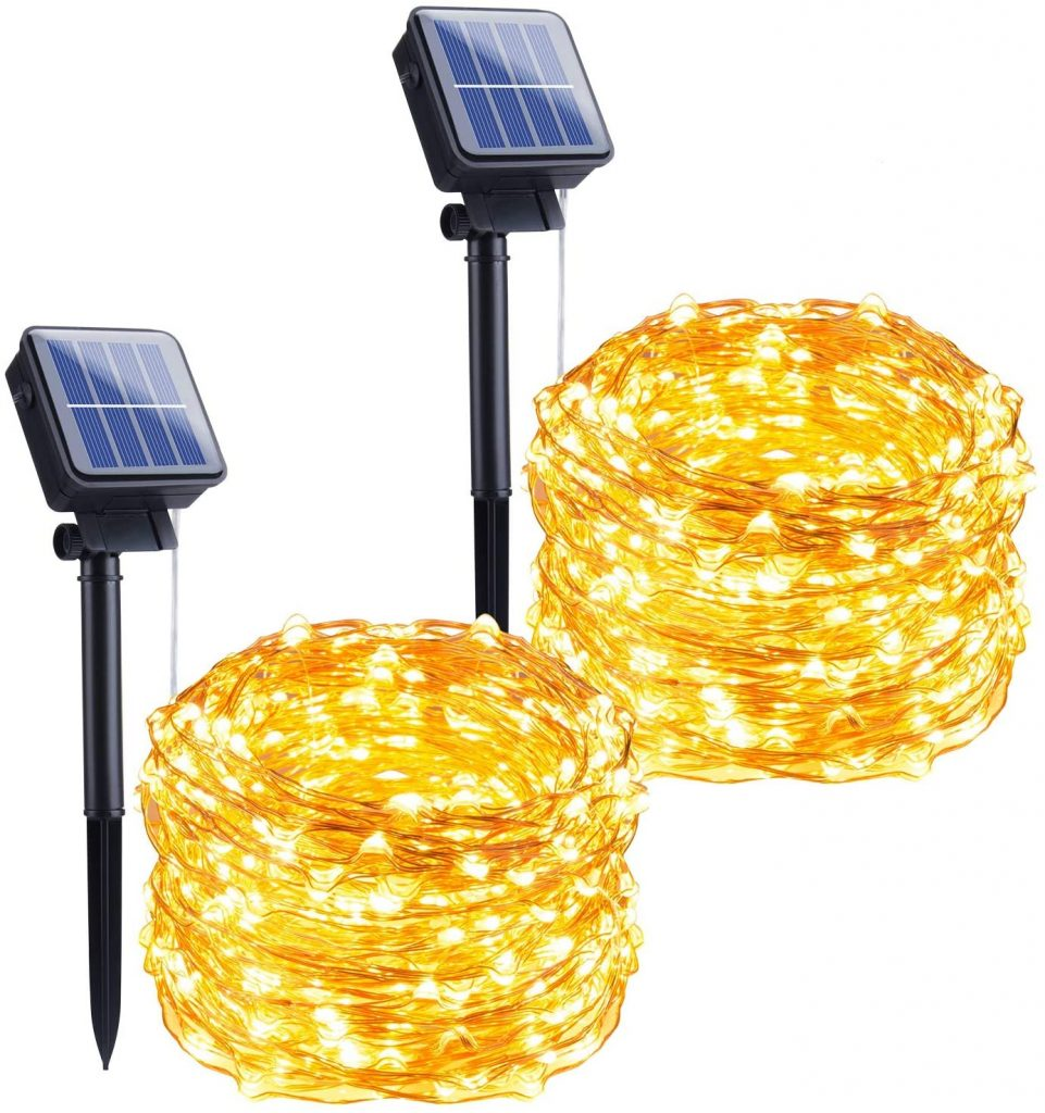 2 sets of Brightown solar Christmas lights with solar panels.