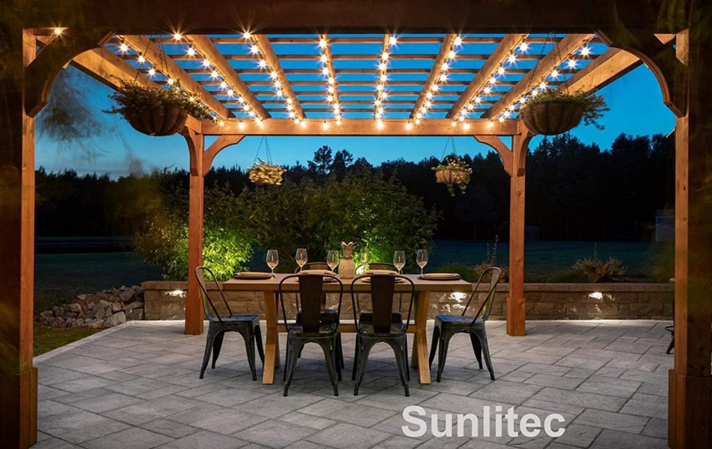Sunlitec solar string lights lighting up a porch